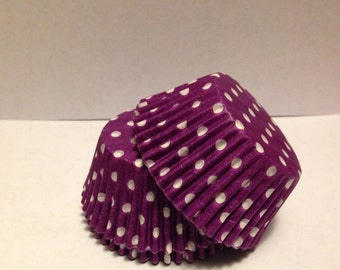 50 count - Grease Resistant Purple with White Polka dots standard size cupcake liners/baking cups