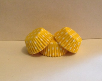 50 count - Greaseproof Yellow with White Polka dots mini size cupcake liners/baking cups