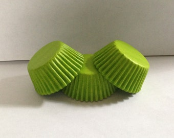 Mini Lime Green Grease Resistant cupcake liners/baking cups- 50 count