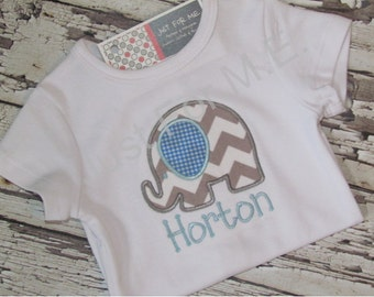 Baby Girls or Boys Personalized Elephant Applique Bodysuit  Great Baby Gift  FREE MONOGRAM