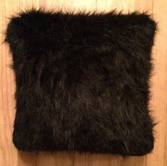Items similar to Black Faux Fur Throw Pillow/Cushion Cover on Etsy