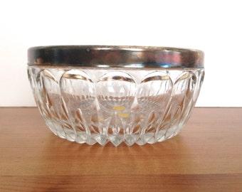 Crystal bowl vintage Leonard Italy silver plate rim serving dish