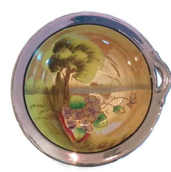 Vintage lusterware porcelain bowl made in Japan