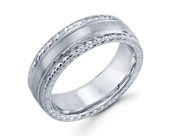 14k White Gold Hand Engraved Wedding Band