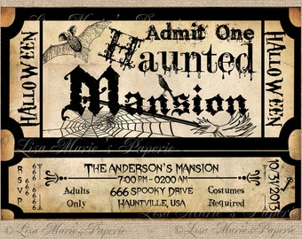 halloween invitation, haunted mansion ticket invitation, handmade, halloween party vintage invitation, halloween invite - DIY PRINTABLE