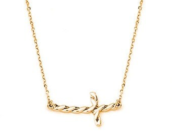 14K Gold Twisted Sideways Cross Necklace, Sideways Cross, Cross Necklace, Cross Jewelry, Religious Jewelry