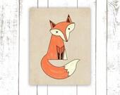 Fox Print, Woodland Nursery Art Print in Tan, Fox Art Print 8x10 Inches