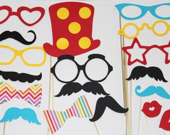 20 Piece Photo Booth, Circus, Photo Booth, Circus Party, Lips and Mustaches, Props on a stick