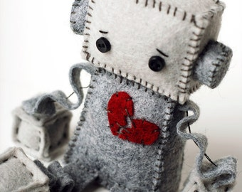 Anti Valentine's Day Sad Robot Plush with a Broken Heart,