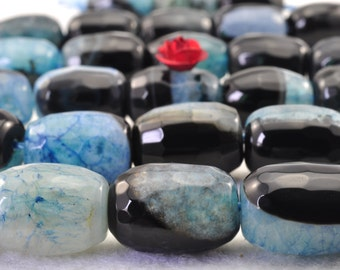 27 pcs of  Blue Agate faceted drum beads in 10 x14mm