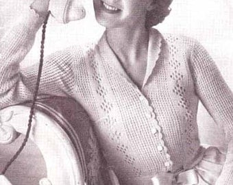 Ladies Bed Jacket with Lace Pattern 1940 Vintage Knitting Pattern