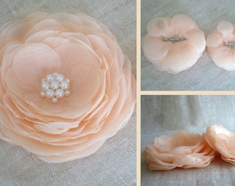Bridal Accessories. Peach Brooches. Brooch Set. Fabric Flowers. Floral Accessories. Wedding Accessories.