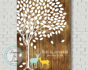 Guest Book Alternative - Rustic Wedding Tree Print - Rustic Guestbook Ideas - Guestbook Tree - Wedding Keepsake - Faux Wood Wedding Sign In