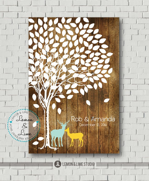 Wedding Guest Sign In Ideas: Guest Book Alternative Rustic Wedding Tree By