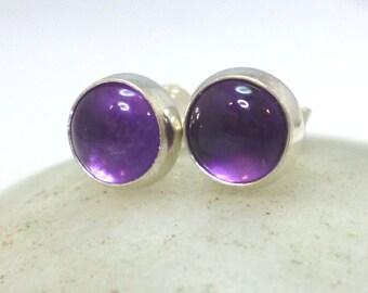 Amethyst Stud Earrings .. Amethyst Earrings 6mm .. Classic Studs .. Amethyst Jewelry .. Handmade .. Silver Studs