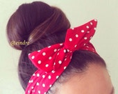 Red and White Polka Dot Dolly Bow Headband, Wire Option Available