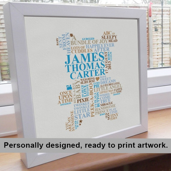 personalised word art template - printable file baby boy gift personalised word by
