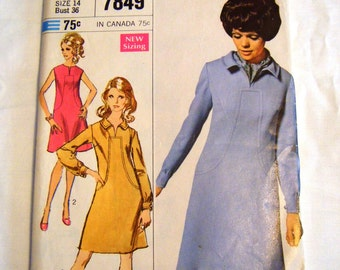 Vintage 1960s Simplicity 7849 designer fashion dress sewing pattern