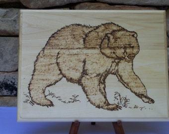 Bear Woodburning Art