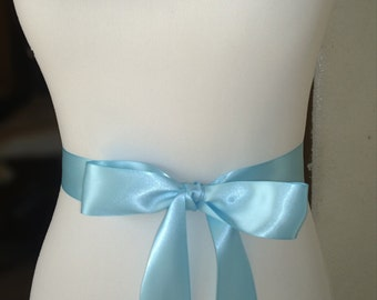 Light Blue Sash- 1.5in Simple Satin Sash- Wedding Sash- Wedding Belt- Plain Sash- Simple Sash-Bridal Belt- Flower Girl Sash- Blue Belt