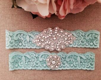 Wedding Garter - Bridal Garter - Crystal Rhinestone Garter and Toss Garter Set