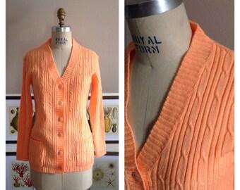 Vintage Albee Neon Orange Cable Knit Cardigan