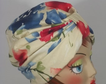 Cotton, fashion turban, hat, off white, floral,  full turban, chemo, vintage style, designer, size L. Free shipping in USA.