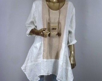 Linen tunic,  lagenlook, white, beige, hankie hem, plus size, boho, layered look, top, shabby chic, XS-3XL. Free shipping in USA