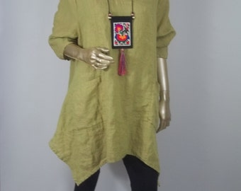 """Linen tunic,  lagenlook, pistachio green, flax, Bust 54"""", top, shabby chic, layered look, Sizes  XS - 3XL. Free shipping in USA."""