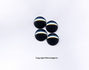 14 mm Round Loose Silver Black Hematite Cabochons for Four