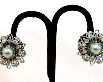 Vintage Light Green Rhinestone Silver Clip on Earrings