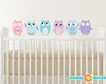 Owl Fabric Wall Decals, Set of 6 Owls, Repositionable and Reusable, Pink, Turquoise,Purple, 4 Different Sizes to Choose From by Sunny Decals