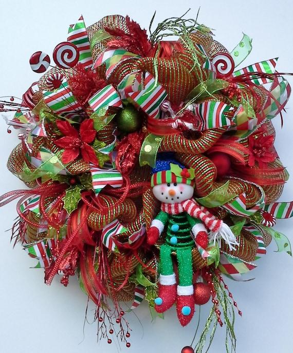 christmas deco mesh wreath features glitz by wredwrockwreaths. Black Bedroom Furniture Sets. Home Design Ideas