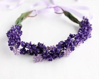 Purple Floral Crown, Bridal Head Wreath, Spring Hair Crown, Flower Girl Halo, Boho Crown, Purple Woodland Halo, Purple Wedding Crown, Rustic