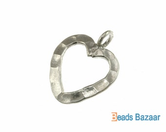 Hammered Wire Heart Charm, 15 mm - Karen Hill Tribe silver