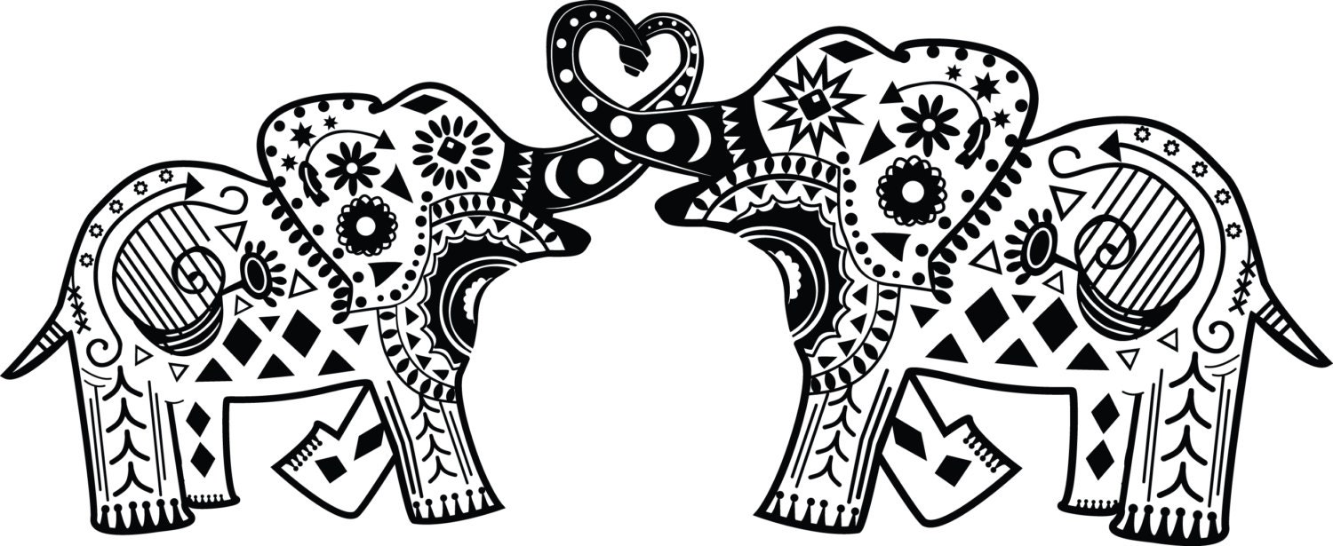 Intertwined Mandala Elephants Vinyl Decal By