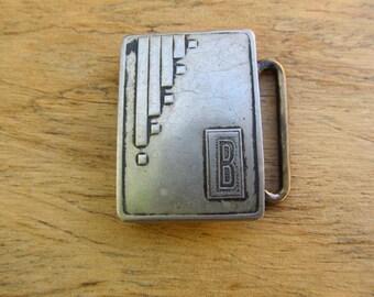 Vintage Art Deco Silver Plate Belt Buckle - Monogram Art Deco Belt Buckle