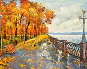 Original Wall Art -Autumn mood- Acrylic oil on canvas Painting by Dmitry Spiros 24 x 32 in (60 x 80 cm)