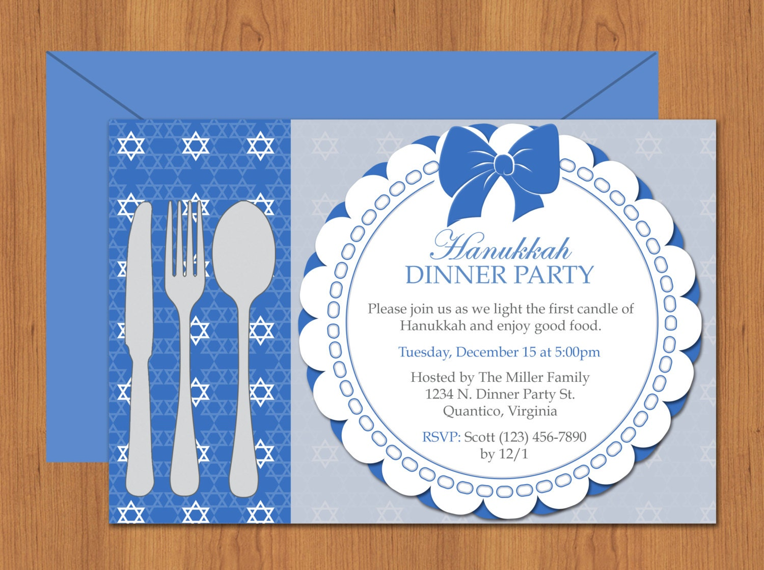 hanukkah dinner party invitation editable template. Black Bedroom Furniture Sets. Home Design Ideas