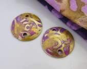 Handmade round copper connector disks, pink purple pair, 2 holed