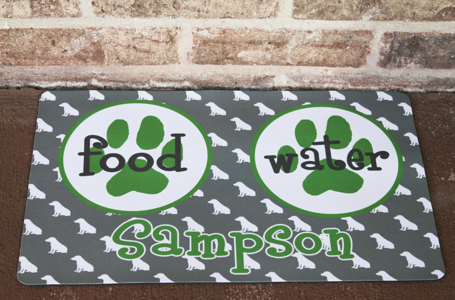 Personalized Dog or Cat Bowl Mat Monogram Your Pet Dog or
