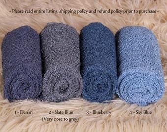 Newborn Stretch Knit Wrap - Photo Prop - BLUES