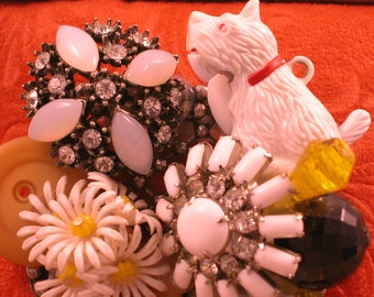 Large Collage White Yorkie Brooch