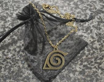 Naruto necklace – Hidden Leaf Village emblem – cosplay prop – convention accessory