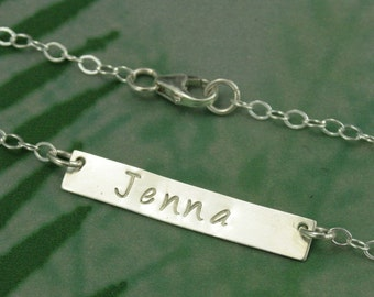 Silver Bar Personalized Name Necklace--Personalized Necklace--Custom Stamped with YOUR Name--Trendy and Stylish
