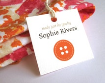 """Customized Sewing Hang Tag, Personalized Product Tag, Clothing or Garment Sewing Tags, Gift for Seamstress, 12 or 24 Tags, 2"""" or 2.5"""" sq."""