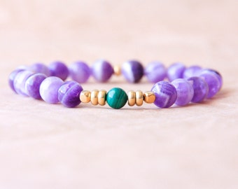 Spiritual Bracelet, Amethyst Mala Bracelet, Yoga Jewelry, Wrist Mala Beads - Healing Energy, Emotional Balance, Spirituality