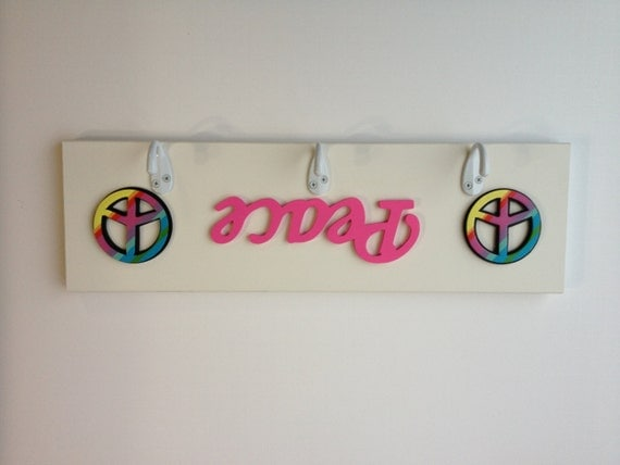 Peace Sign Bedroom Accessories: Items Similar To Hot Pink And White Peace Sign 3 Wall
