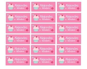 100ct Dishwasher Safe Cupcake - Baby Bottle Labels, Day Care Labels - Waterproof Kids Name Label