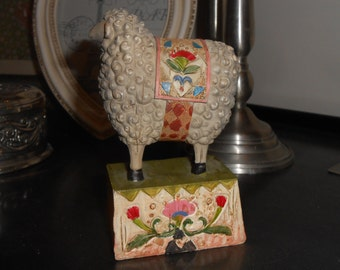 sheep ornament colourful kitsch shabby chic shelf sitter country cottage rustic style animal figurine